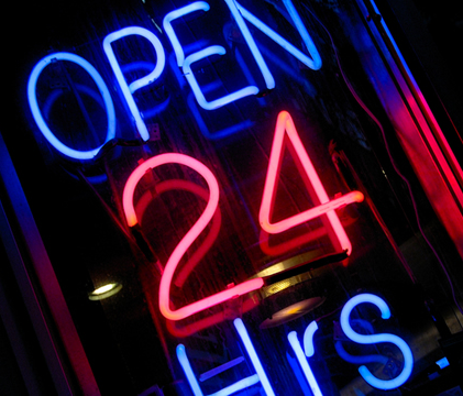 open 24 hours; available