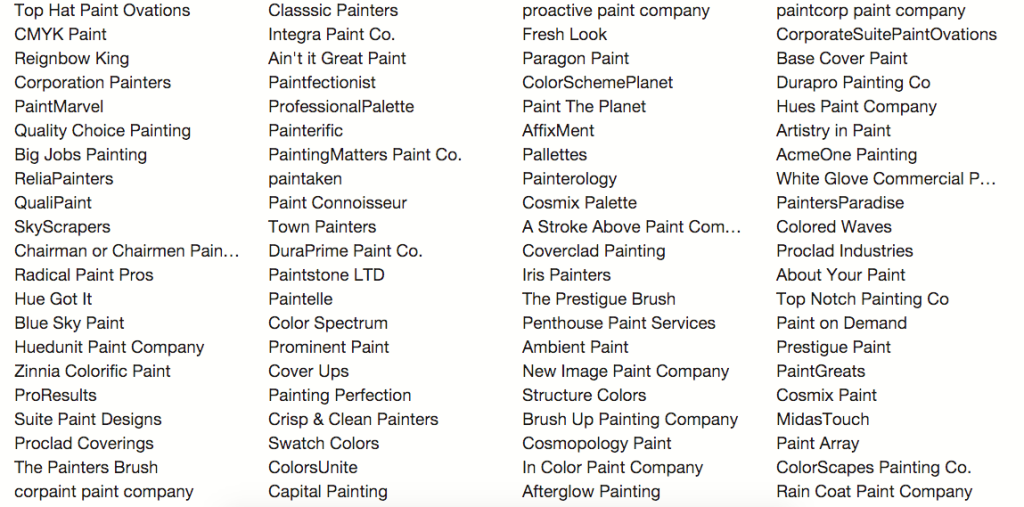 painting company name list
