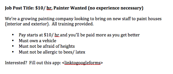 painting job posting, craigslist